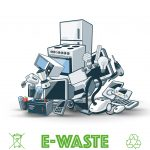 E-waste- Pile of electronics and appliance to be recycled safely.