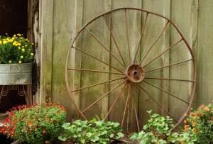 Moffatt Scrap Iron & Metal Inc.- Metal Recycling- Farm Wheel Outside